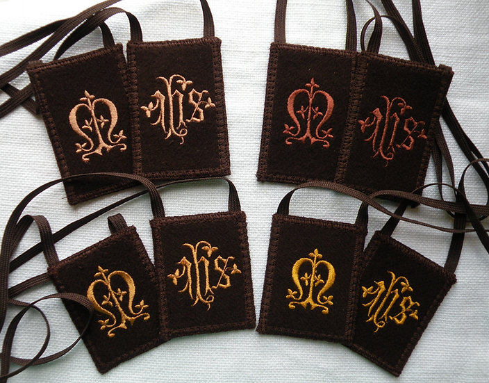 Brown Scapular, Embroidered I.H.S. and Marian Monogram