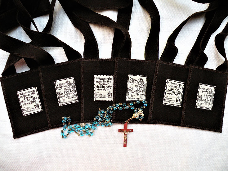 Brown Scapular of Our Lady of Mount Carmel, Garment of Grace, 3 x 4 inch