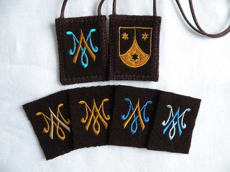 Mantle Of Mary Brown Scapular with Auspice Maria and O.Carm Shield