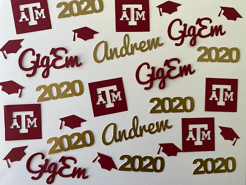 Texas A&M Aggies Personalized Graduation Confetti