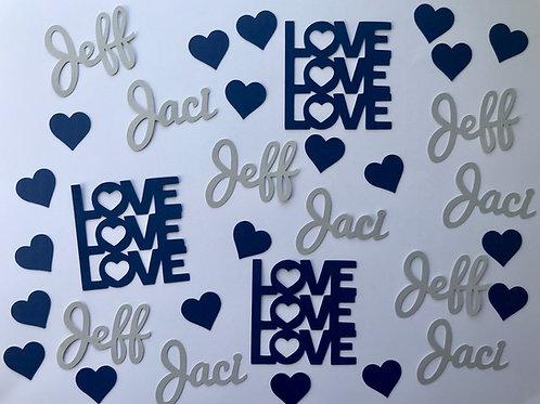 Love, Love, Love Personalized Confetti