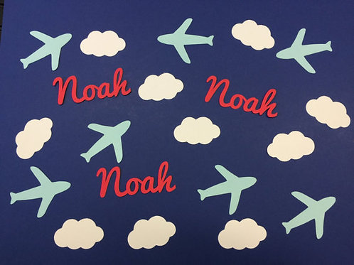 Airplane and Clouds Personalized Baby Shower Confetti