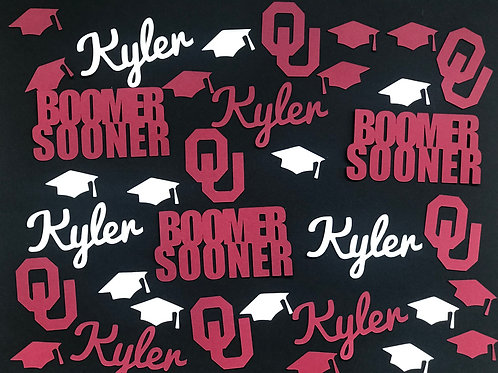 University of Oklahoma Boomer Sooner Graduation Confetti