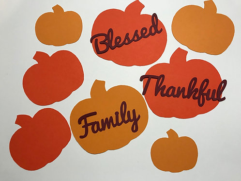 Blessed, Thankful, and Family Pumpkin Autumn Thanksgiving Confetti
