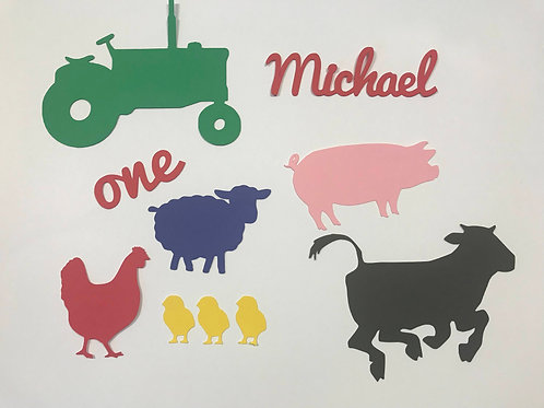 Farm Animals and Tractor Birthday Confetti