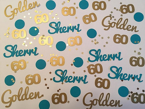 60 is Golden Personalized Birthday Confetti
