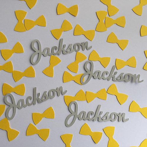 Yellow & Grey Personalized BowTie Confetti