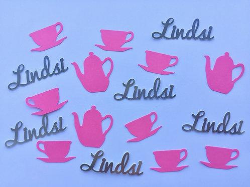 Personalized Teapot, Teacup & Name Confetti