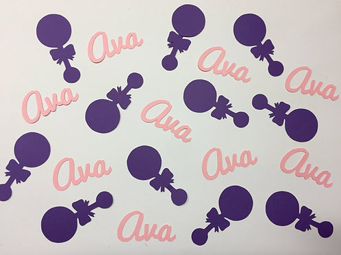 Personalized Baby Shower Confetti with Rattles