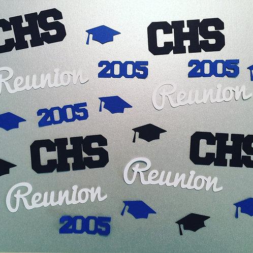 School Reunion Confetti Including Grad Caps, Year, School Initials