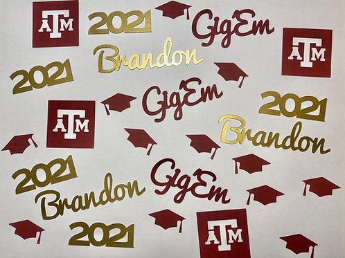 Texas A&M Aggies Personalized Graduation Confetti