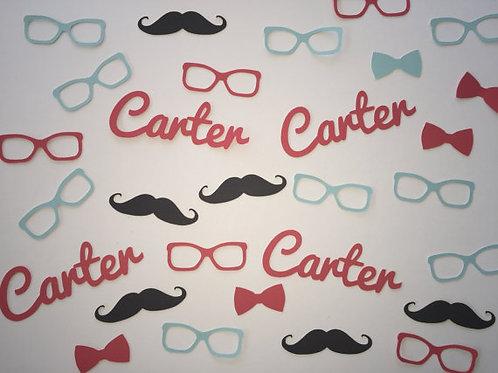 Personalized Mustache, Bow Tie, Glasses & Name Confetti