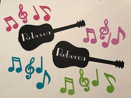 Music Party Personalized Guitar Confetti