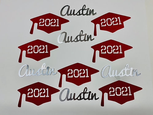 Personalized 2021 Graduation Caps and Names Confetti