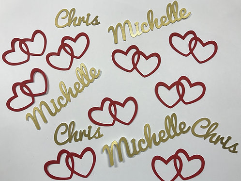 Personalized Double Hearts Confetti