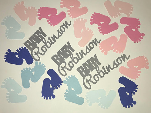 Gender Reveal Confetti - Tiny Baby Feet in Blue and Pink with Personalized Name
