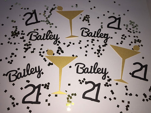 Personalized Martini Birthday Confetti