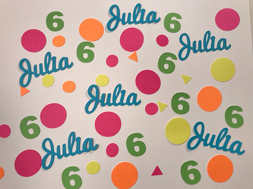 Colorful Birthday Confetti with Name and Number