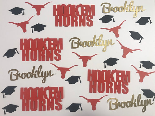 Texas Longhorns Personalized Graduation Confetti