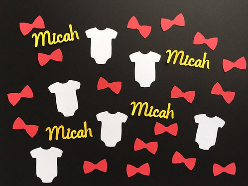 Personalized Onesies & Bow Ties Baby Shower Confetti