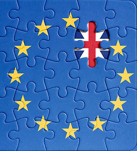 brexit puzzle. european union flag with
