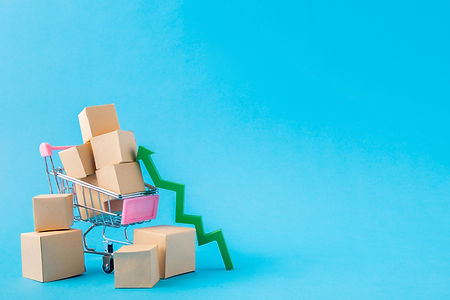 Picture of shopping cart carrying large parcels arrow going up developing export sales man...vid.jpg