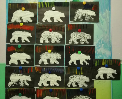 """Рисование """"Белый медведь и северное сияние"""" нетрадиционным и техниками"""