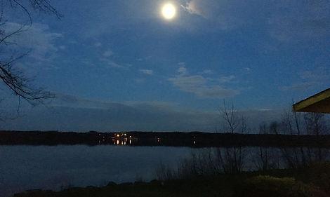 Full moon over LaDue Reservoir taken fro