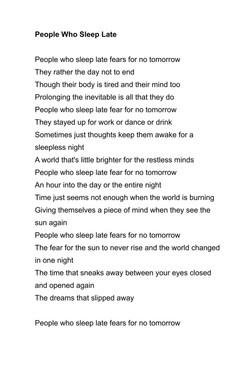 People Who Sleep Late