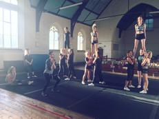 Cheerleading team training