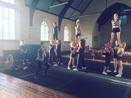 Cheerleading team training