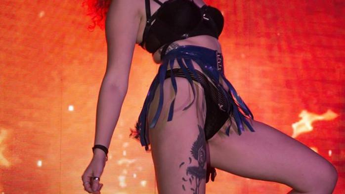 Model wearing latex