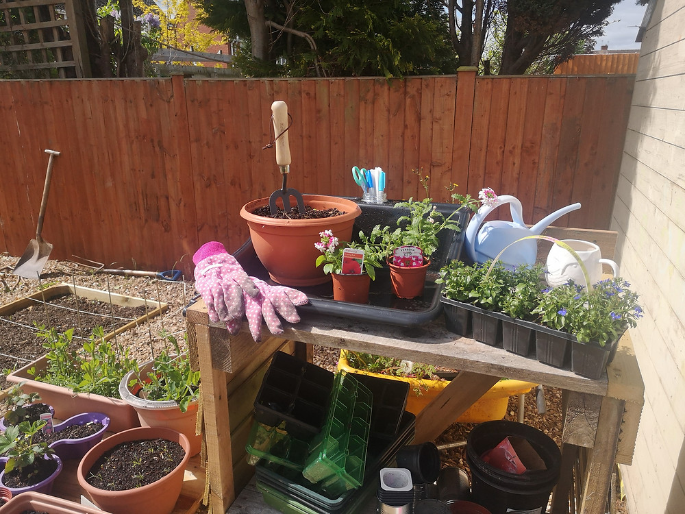Sarahs potting bench is shown with lots of flowers, watering can, gardening tools and pink gardening gloves