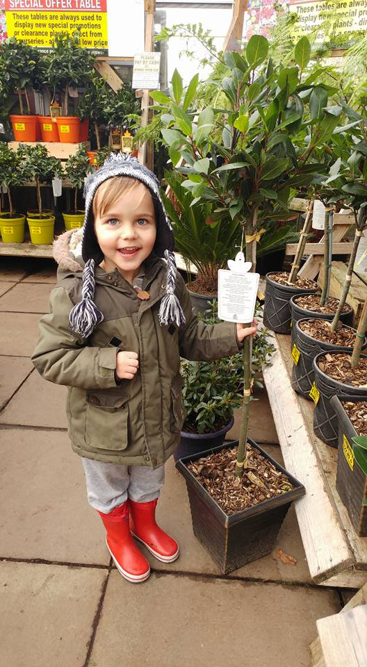 3 year old Leo stood beside a young tree in a garden centre. Leo is smiling in an autumn coat and hat and red wellies.