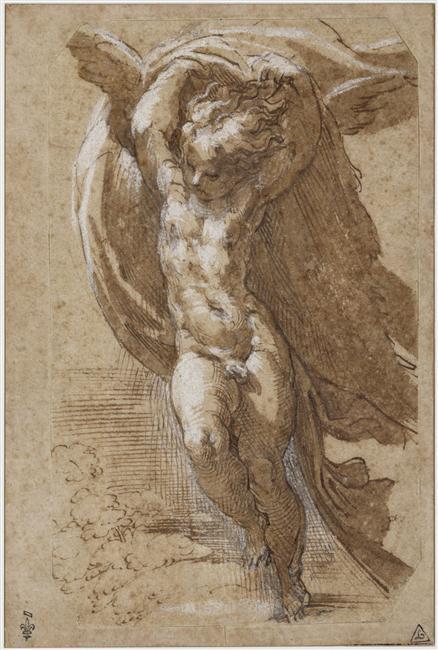 Parmesan, Angel soulevant une draperie au-dessus de sa tête