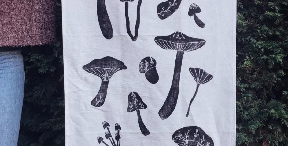 Mushroom Tea Towel : Inkwood Studios