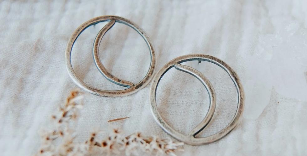 Quarter Moon Studs : Third Hand Silversmith