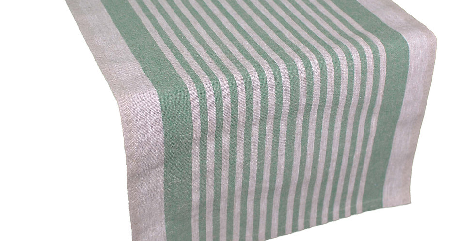 Linen Table Runner - Green Tread