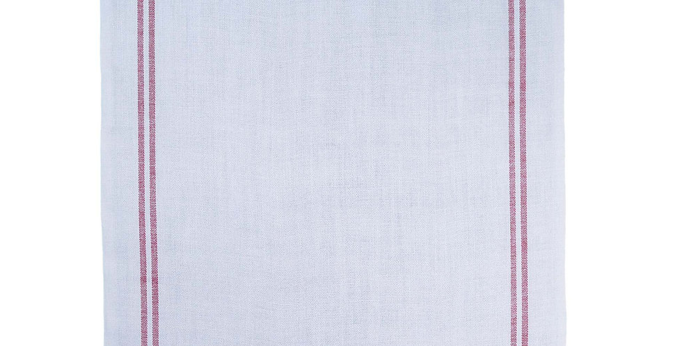 French Linen Table Runner- Glacier Red Stripe