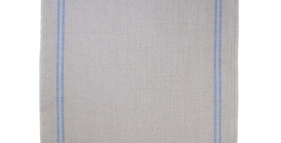 French Linen Table Runner - Natural Blue Stripe