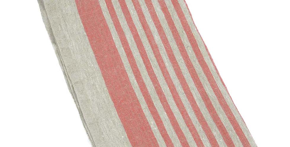 Large Linen Tea Towel - Red Tread