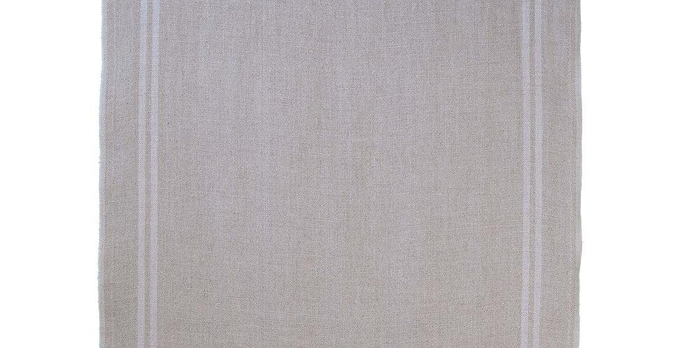 French Linen Table Runner - Natural Beige Stripe