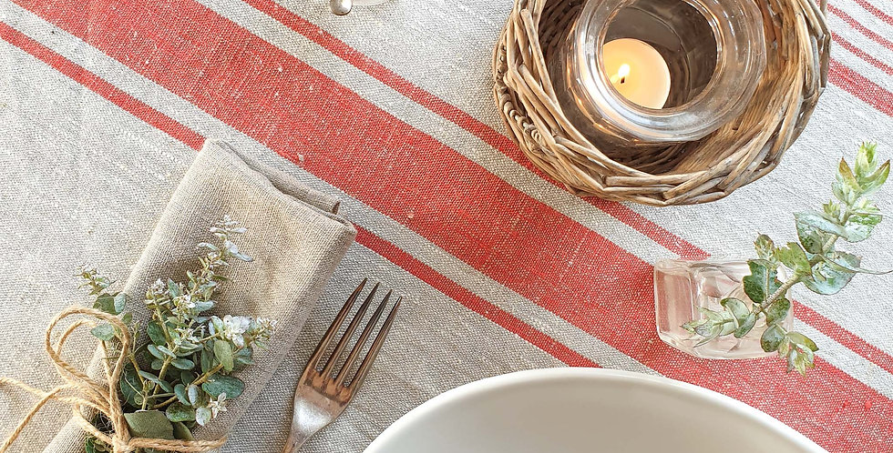 Natural Linen Tablecloth - Red Stripes
