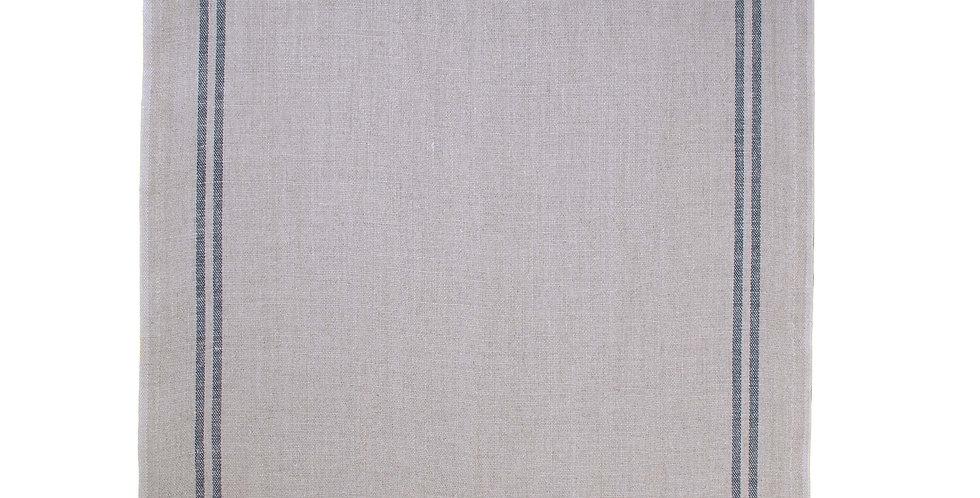 French Linen Table Runner - Natural Black Stripe