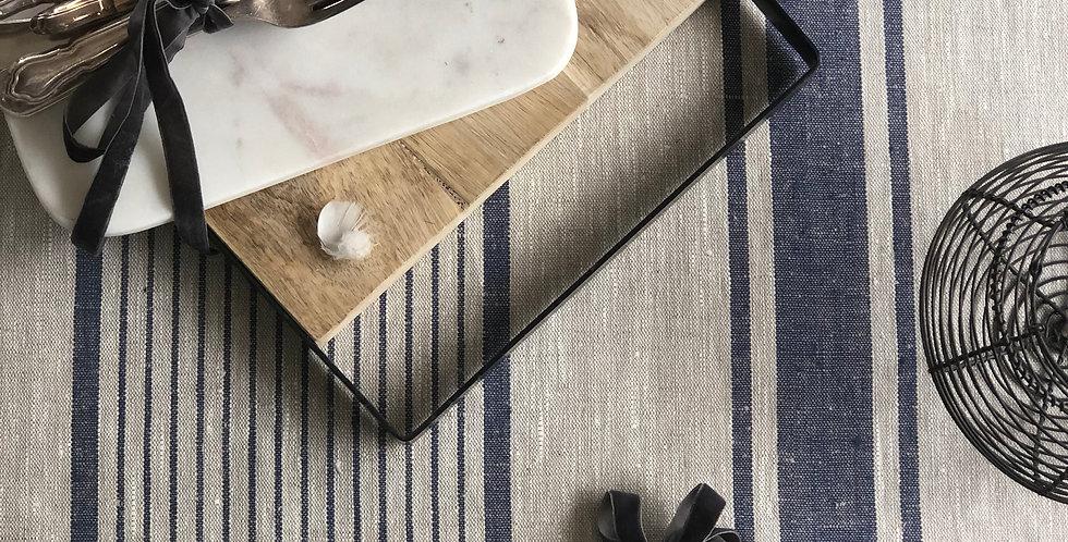 Natural Linen Tablecloth - Blue Ink Stripe