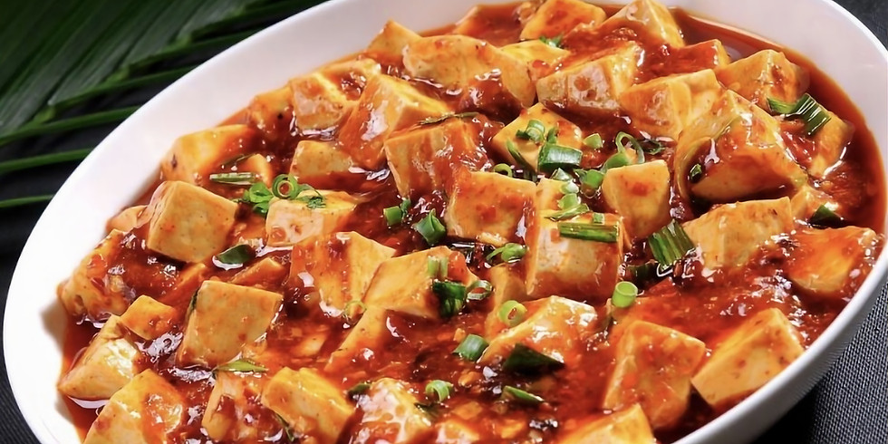 Mapo Tofu and Pan-fried Vegetable Dumplings