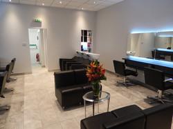Salon waiting area and backwash
