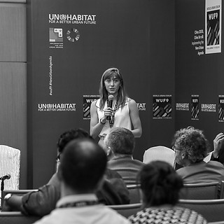Lena Simet presenting at WUF9