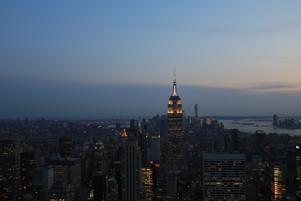 NYC skyline at dusk.