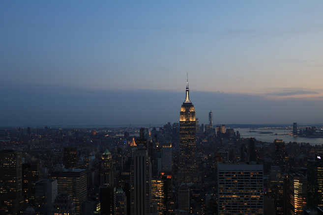 NYC skyline at dusk.